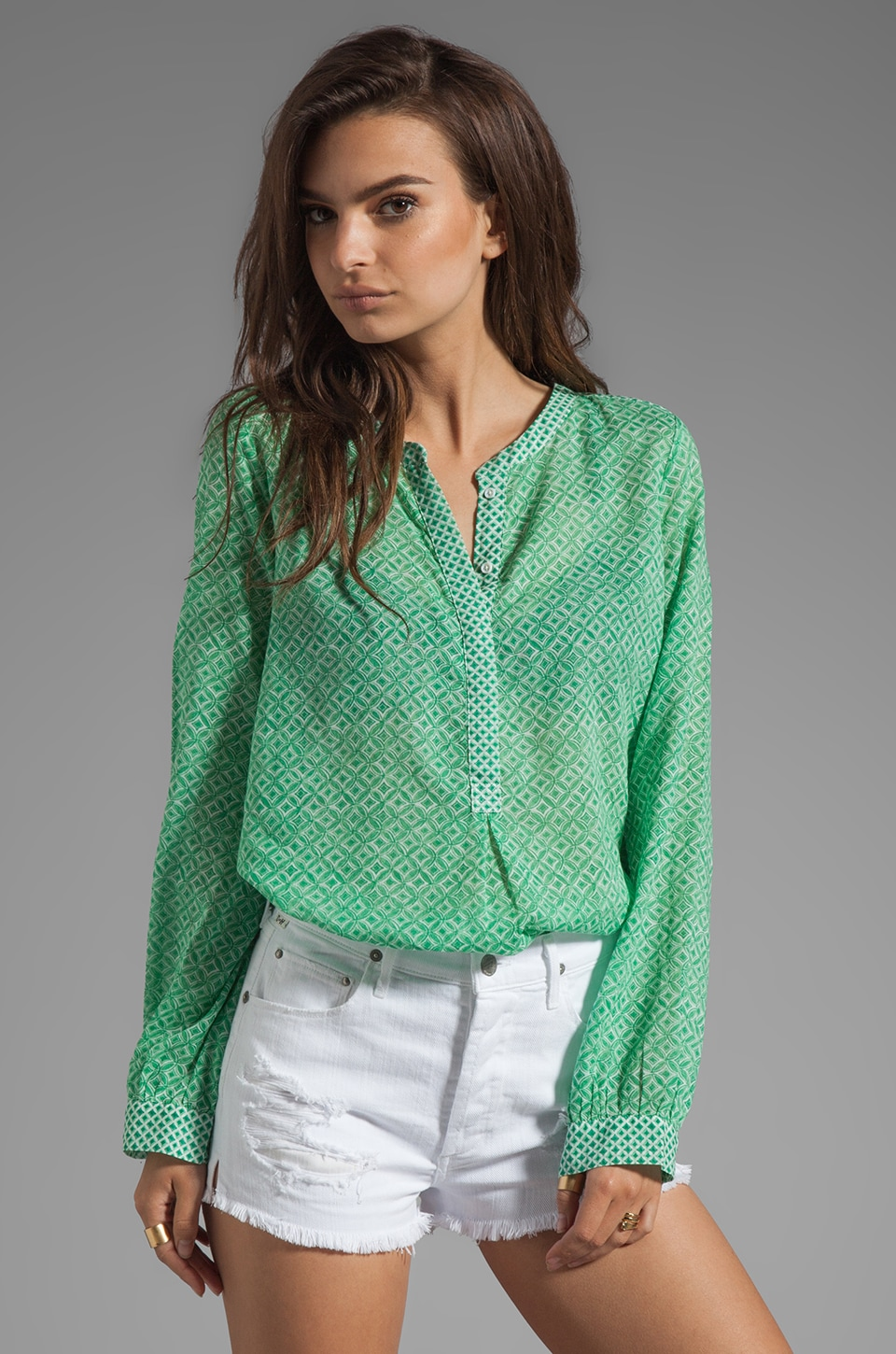 Joie Jira Diamond Print Blouse in Jungle Green