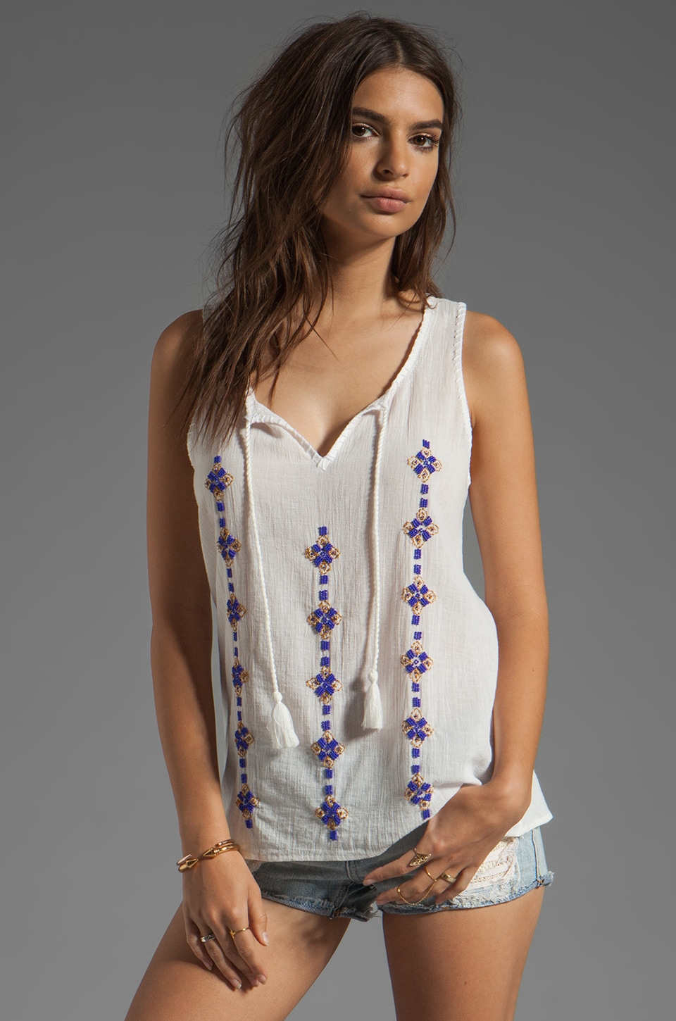 Joie Kuna B Embroidery and Beaded Tank in Porcelain