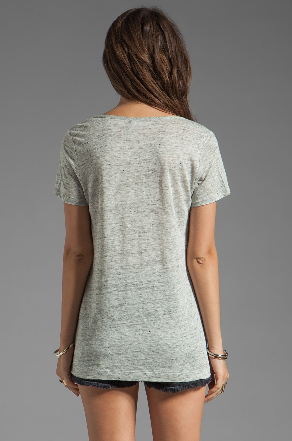 Joie Cotton Tee in Light Heather Grey