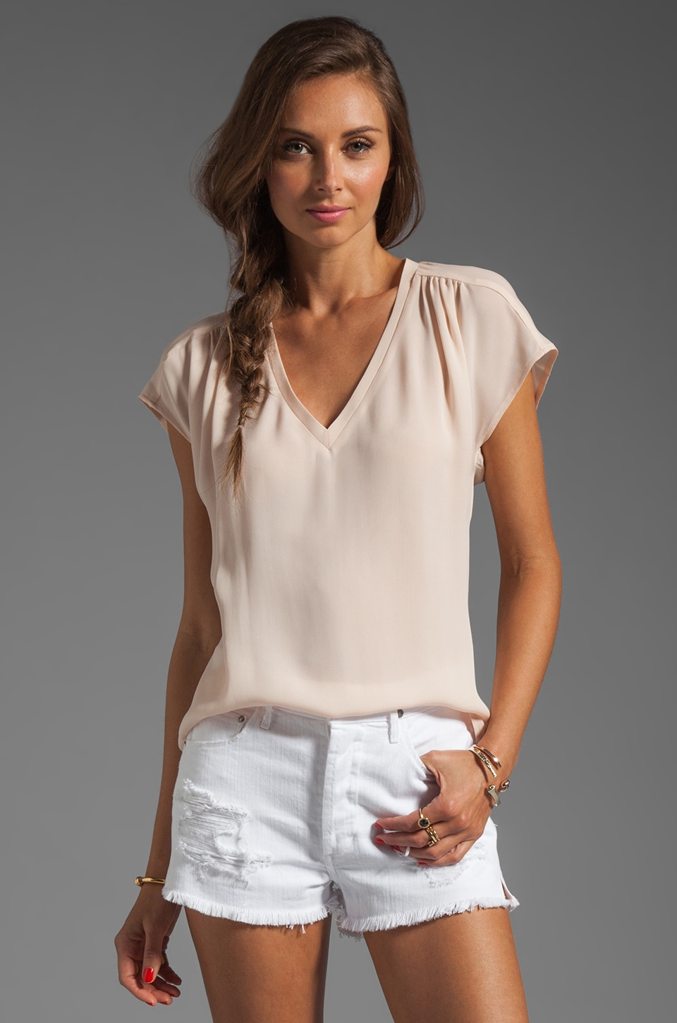 Joie Suela Blouse in Soft Pink
