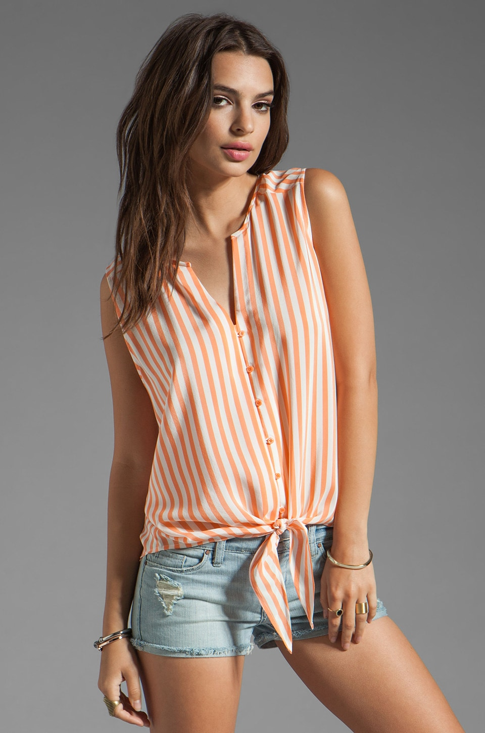 Joie Tyson Stripe Tank in Carrot