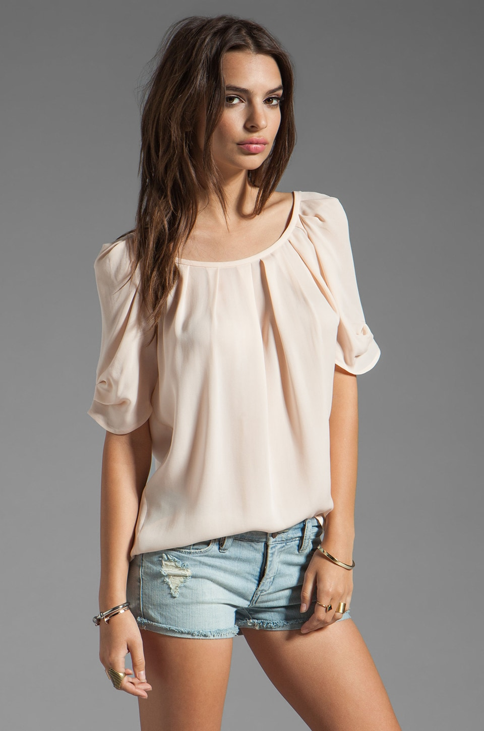Joie Eleanor Matte Silk Top in Soft Pink