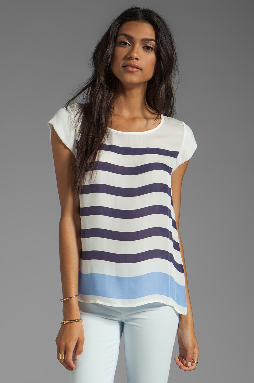 Joie Terry Stripe Print Top in Blue Violet