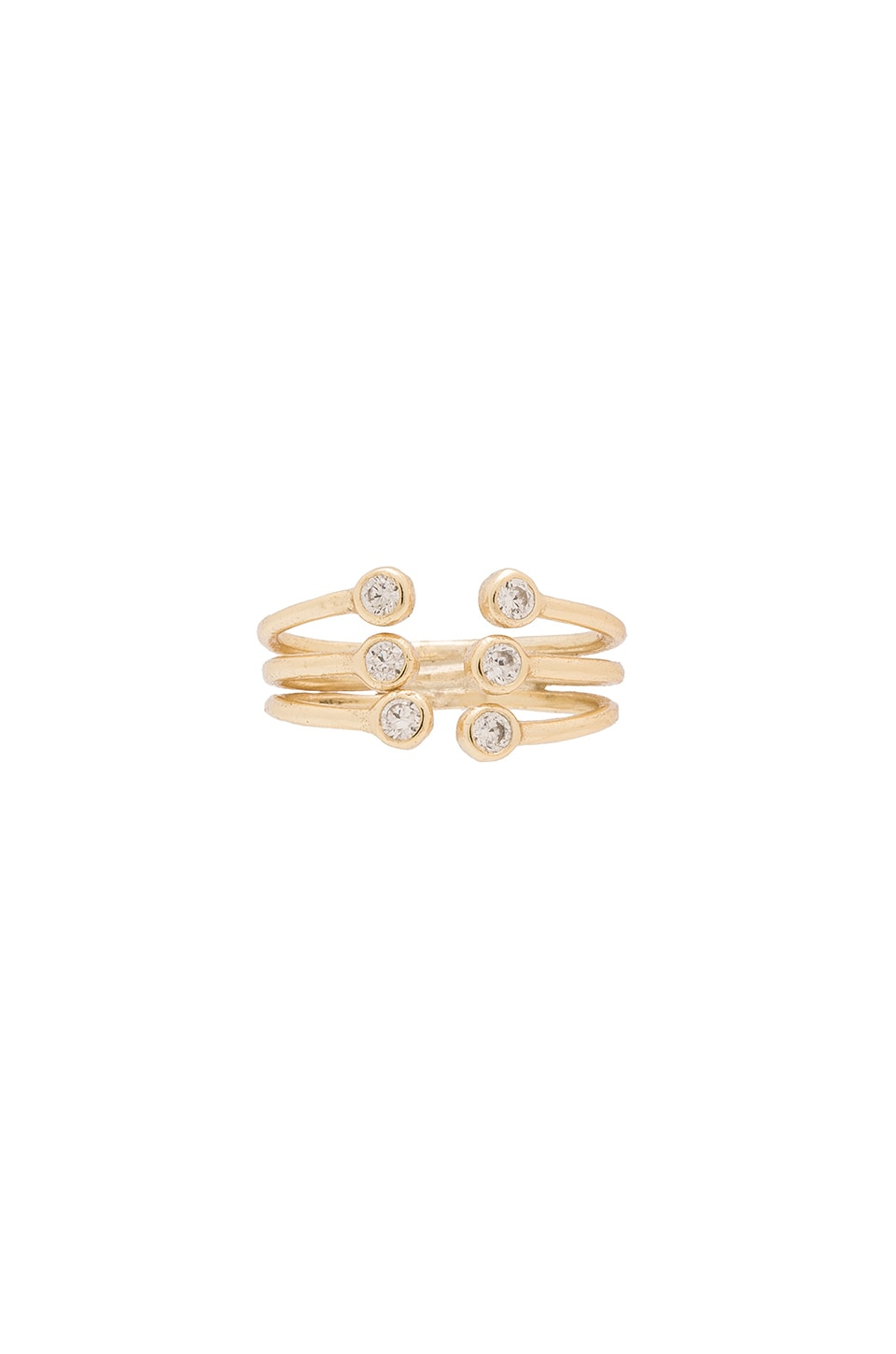 joolz by Martha Calvo Bezel Cage Cuff Midi Ring in Gold