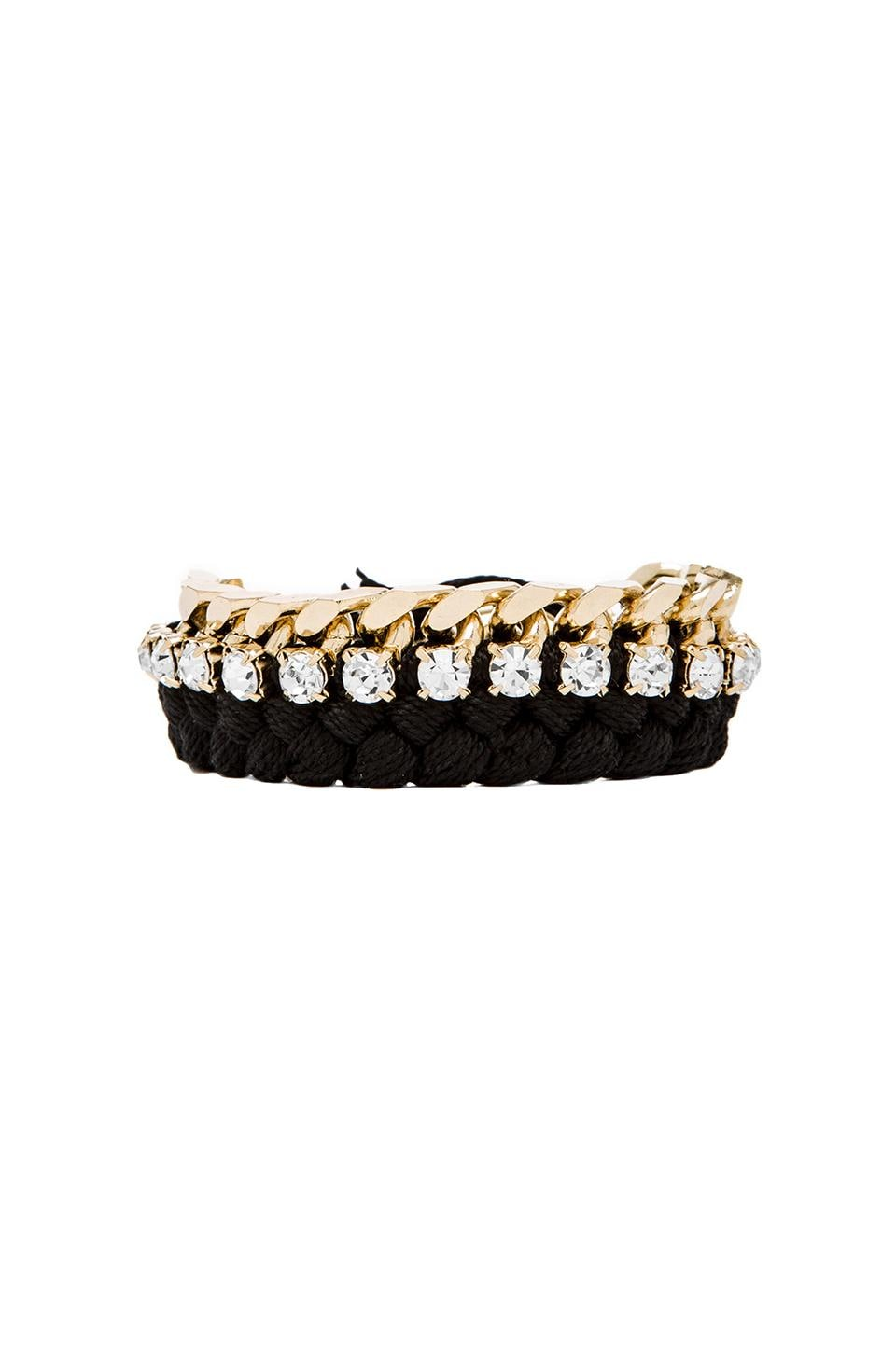 joolz by Martha Calvo Large Kim Bracelet in Gold & Black & Clear Swarovski