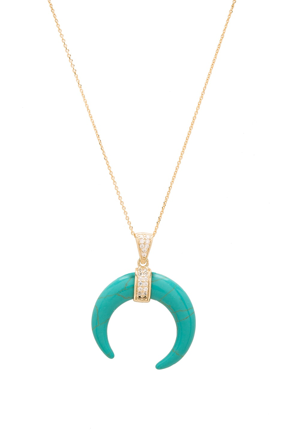 joolz by Martha Calvo Turquoise Crescent Moon Necklace in Gold