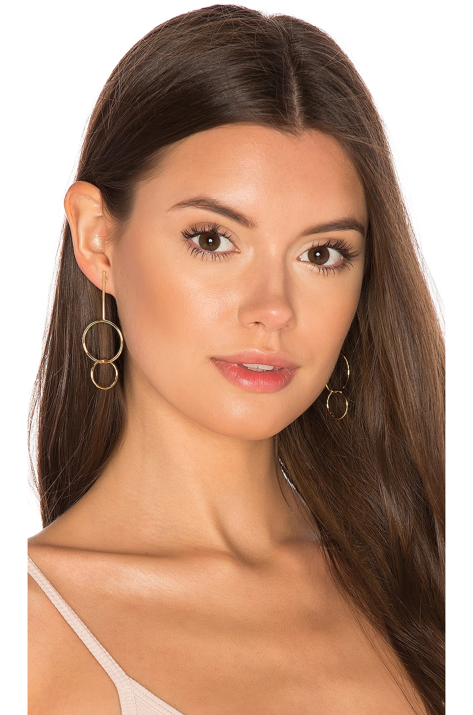 joolz by Martha Calvo Double Drop Hoop Earrings in Gold