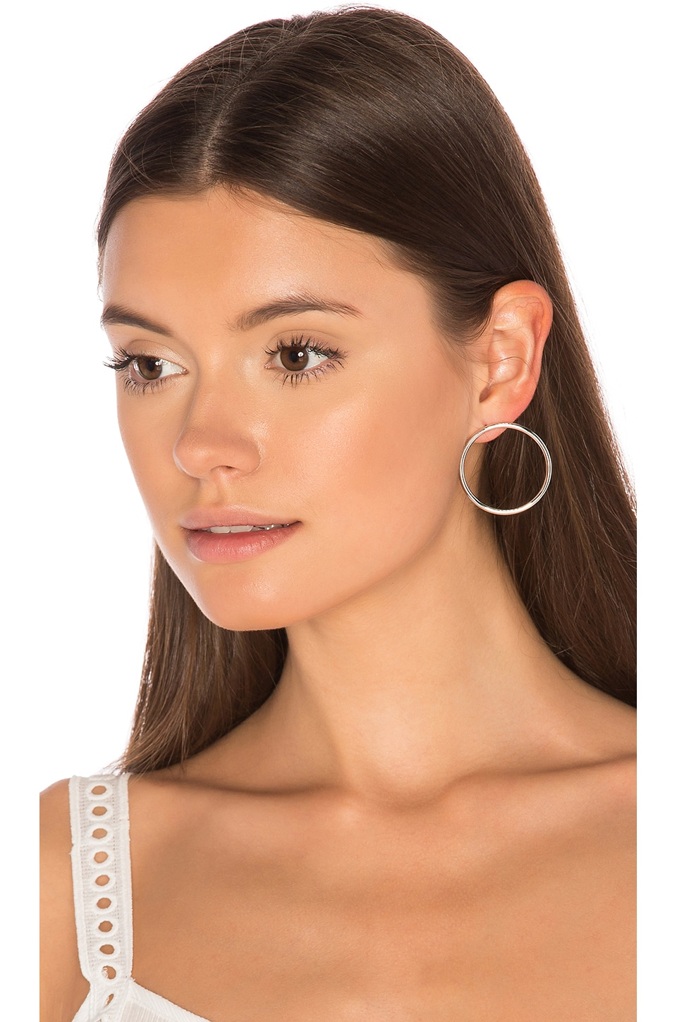 joolz by Martha Calvo Facade Front Hoop Earrings in Silver