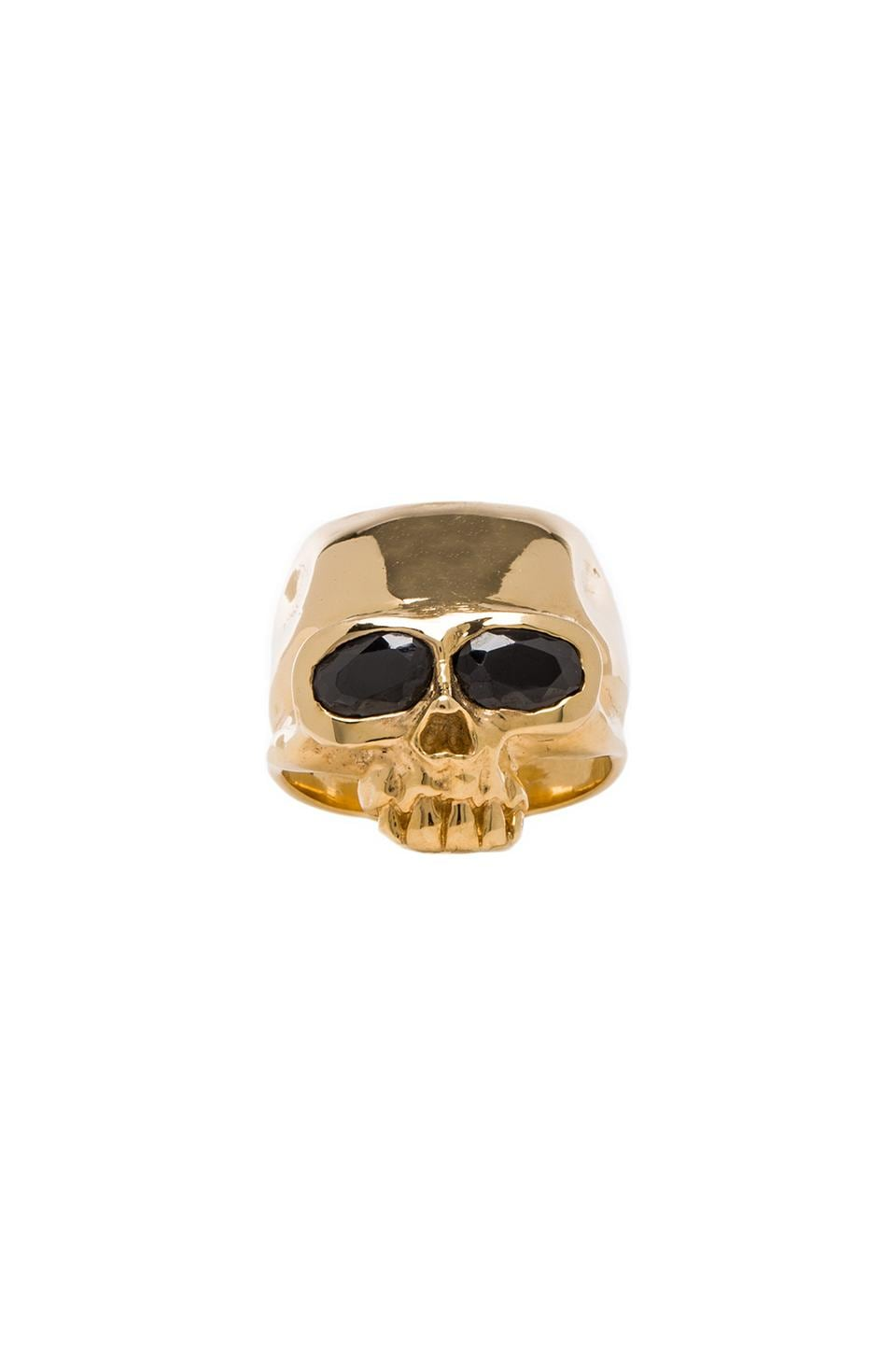 joolz by Martha Calvo Skull Head Ring in Gold & Black