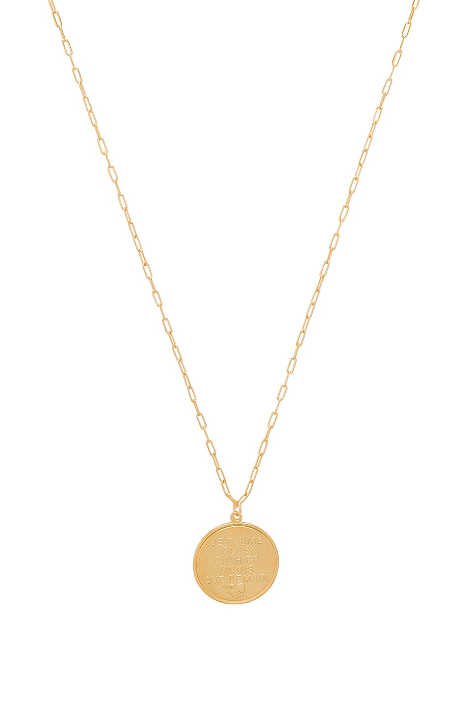 joolz by Martha Calvo French Quote Disc Necklace in Gold