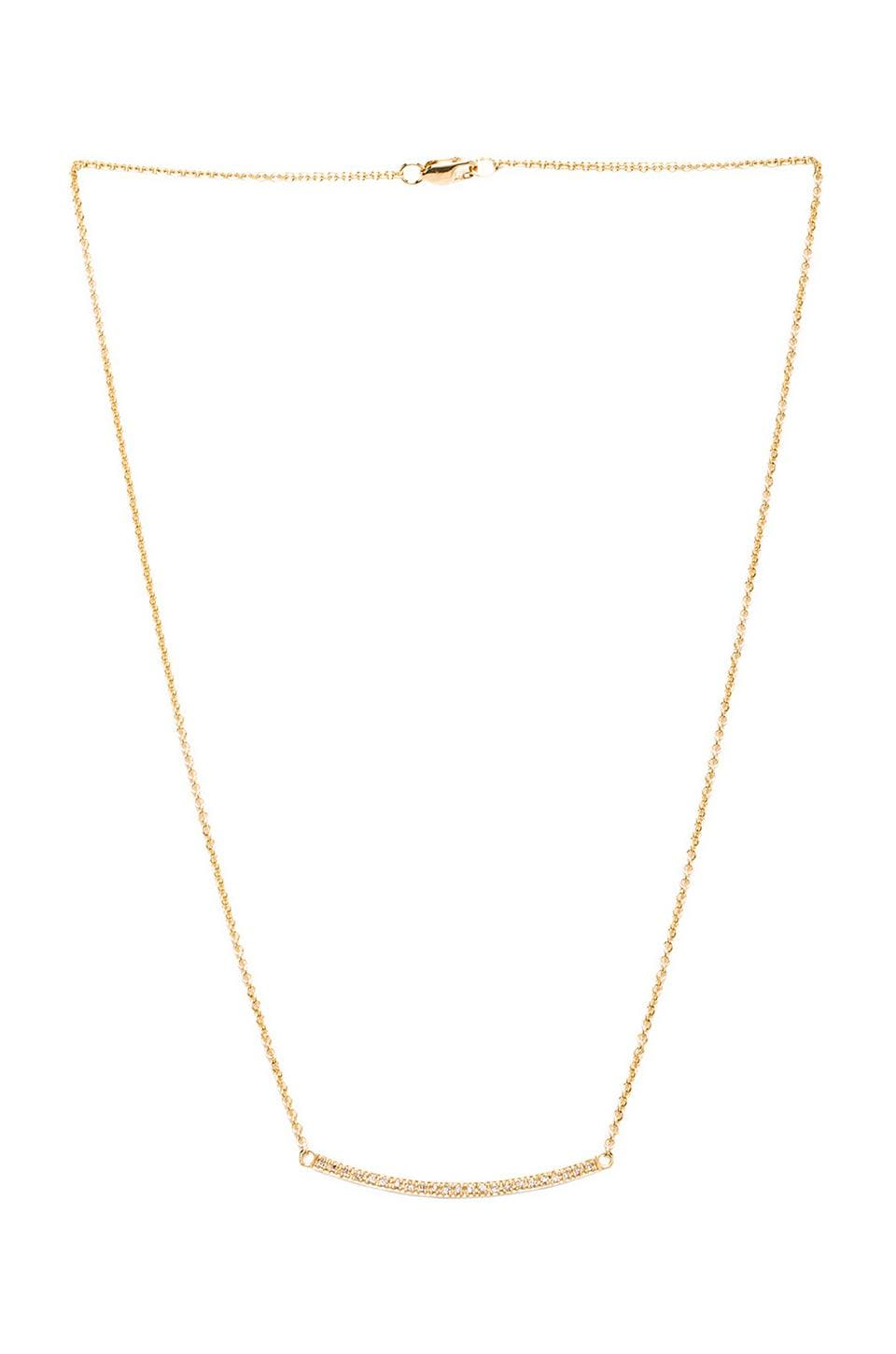 joolz by Martha Calvo Diamond Curved Pave Bar Necklace in Gold