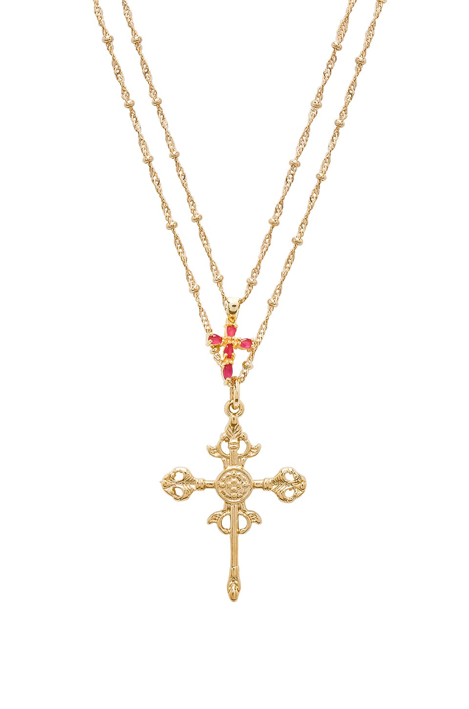 JOOLZ BY MARTHA CALVO Roman Cross Set Necklace in Metallic Gold