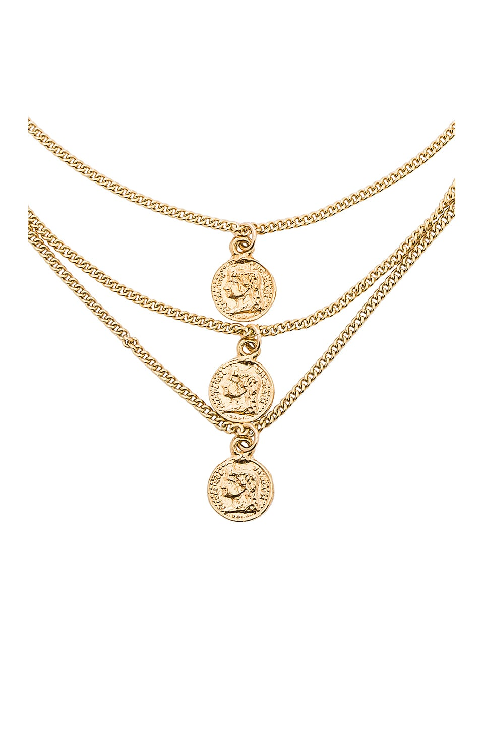 JOOLZ BY MARTHA CALVO Triple Tribute Coin Necklace in Metallic Gold