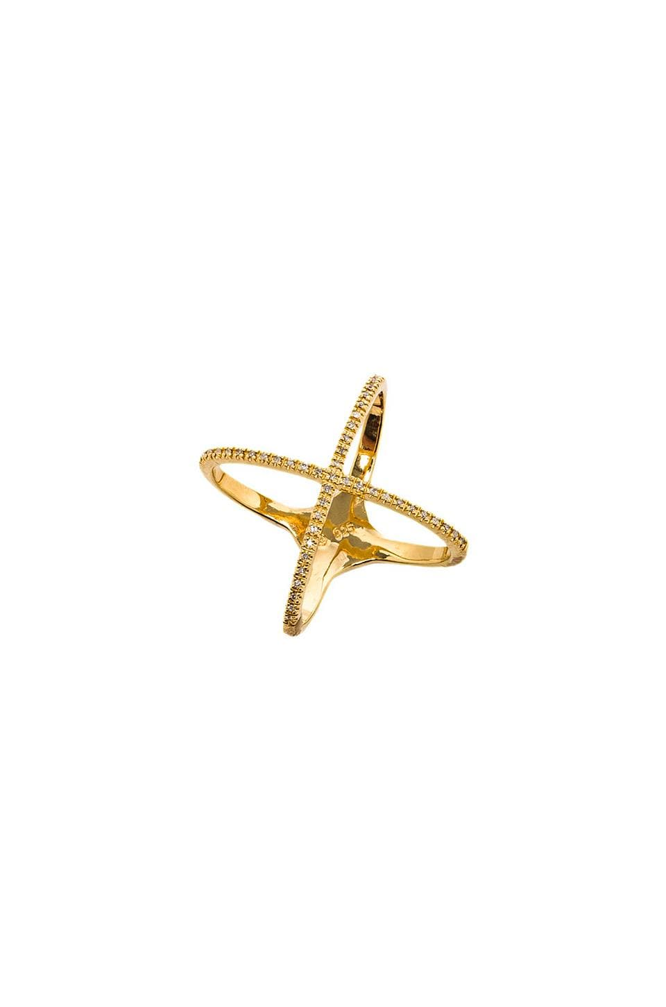 joolz by Martha Calvo Diamond X Ring in Gold