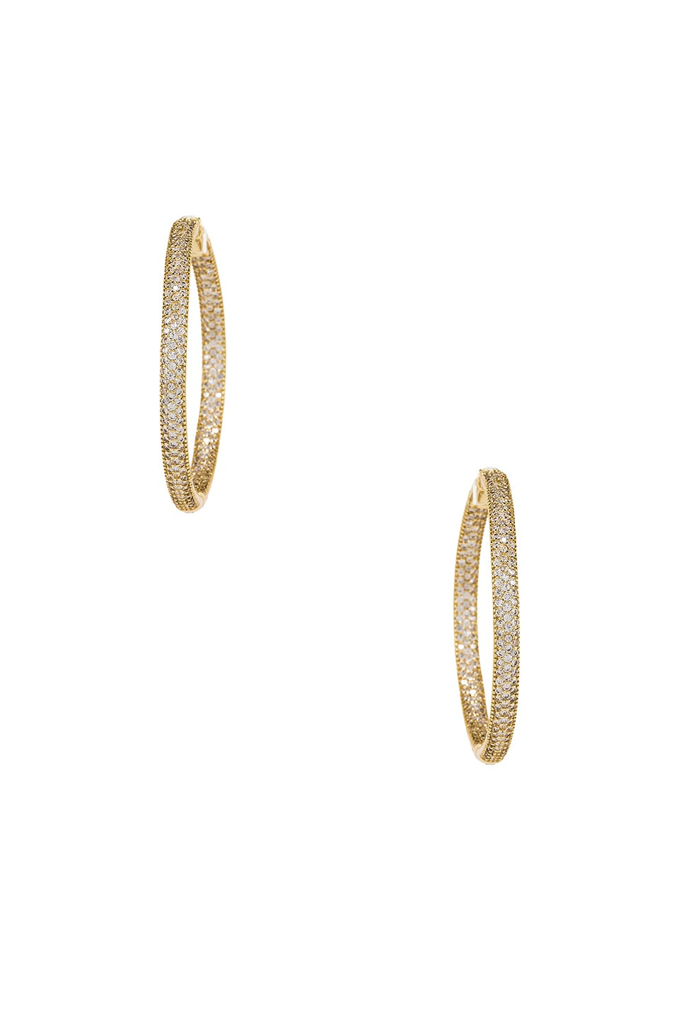 joolz by Martha Calvo Tubular Pave Hoops in Gold