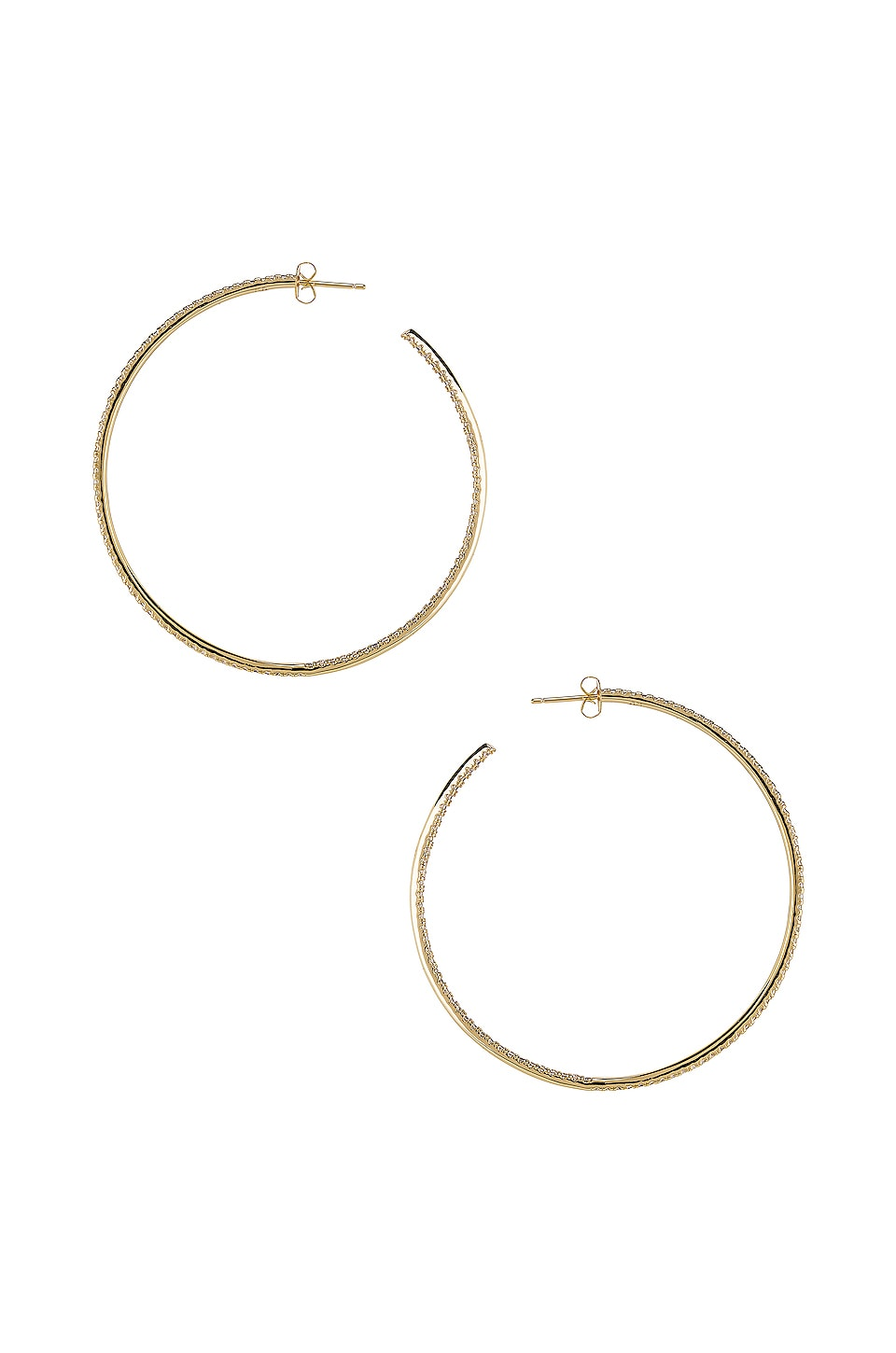 joolz by Martha Calvo Thin Pave Hoop Earrings in Gold