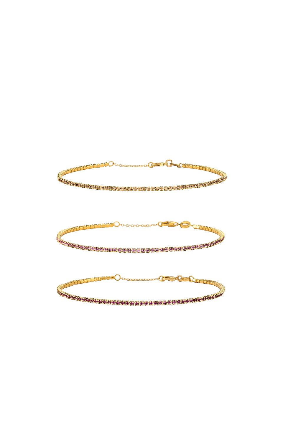 joolz by Martha Calvo Micro Tennis Bracelet Set in Champagne, Pink & Ruby