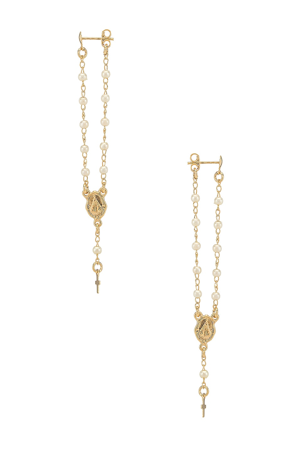 joolz by Martha Calvo Rosary Earrings in Gold