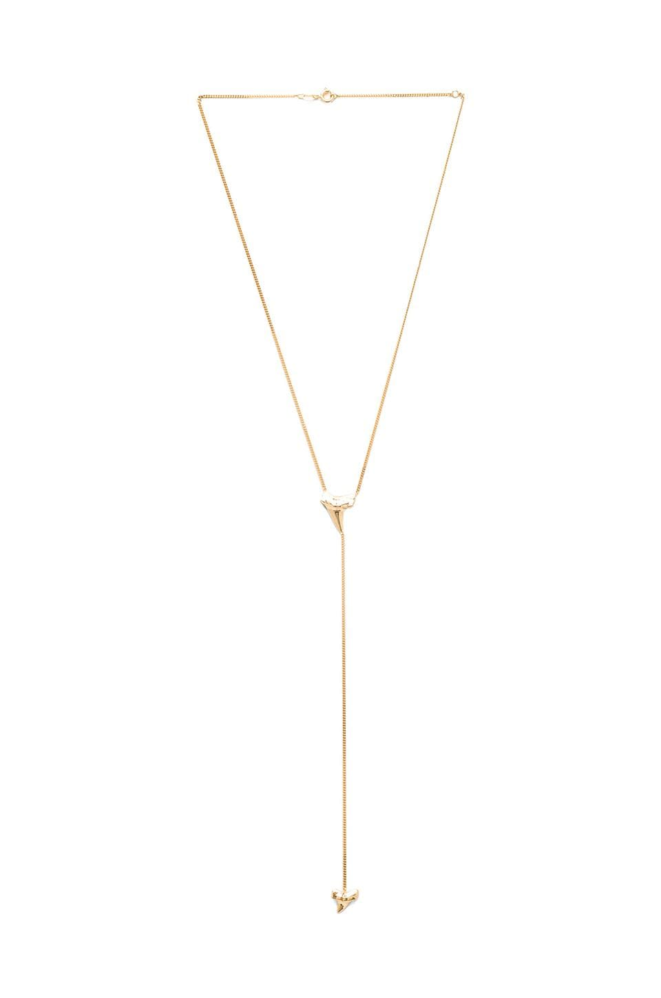 joolz by Martha Calvo Shark Tooth Lariat Necklace in Gold