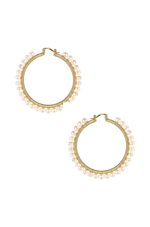 joolz by Martha Calvo Amalfi Pearl Hoop Earrings in Gold