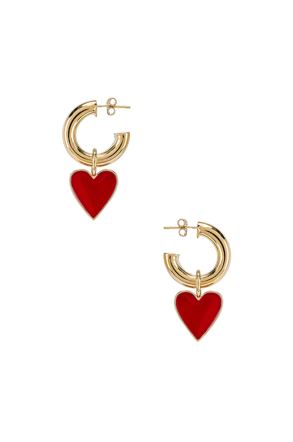joolz by Martha Calvo Amour Enamel Hoop Earrings in Red