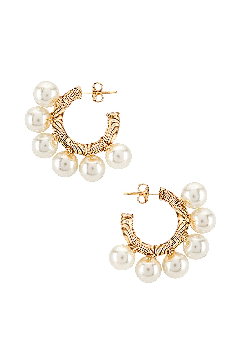 joolz by Martha Calvo Bari Pearl Hoops in Gold