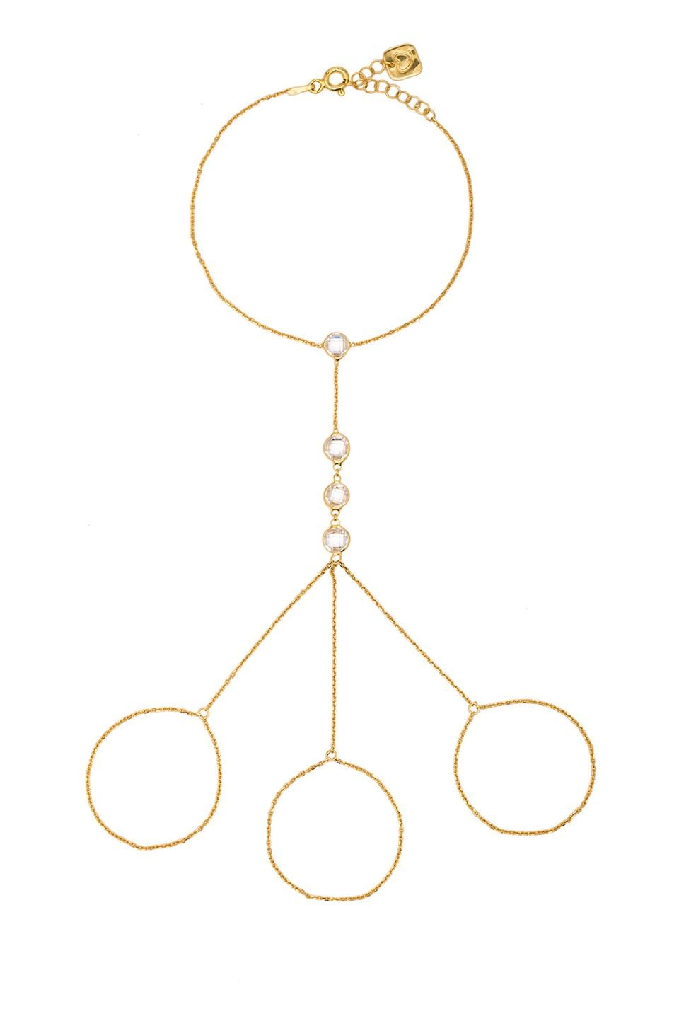 joolz by Martha Calvo 3 Finger Handchain in Gold