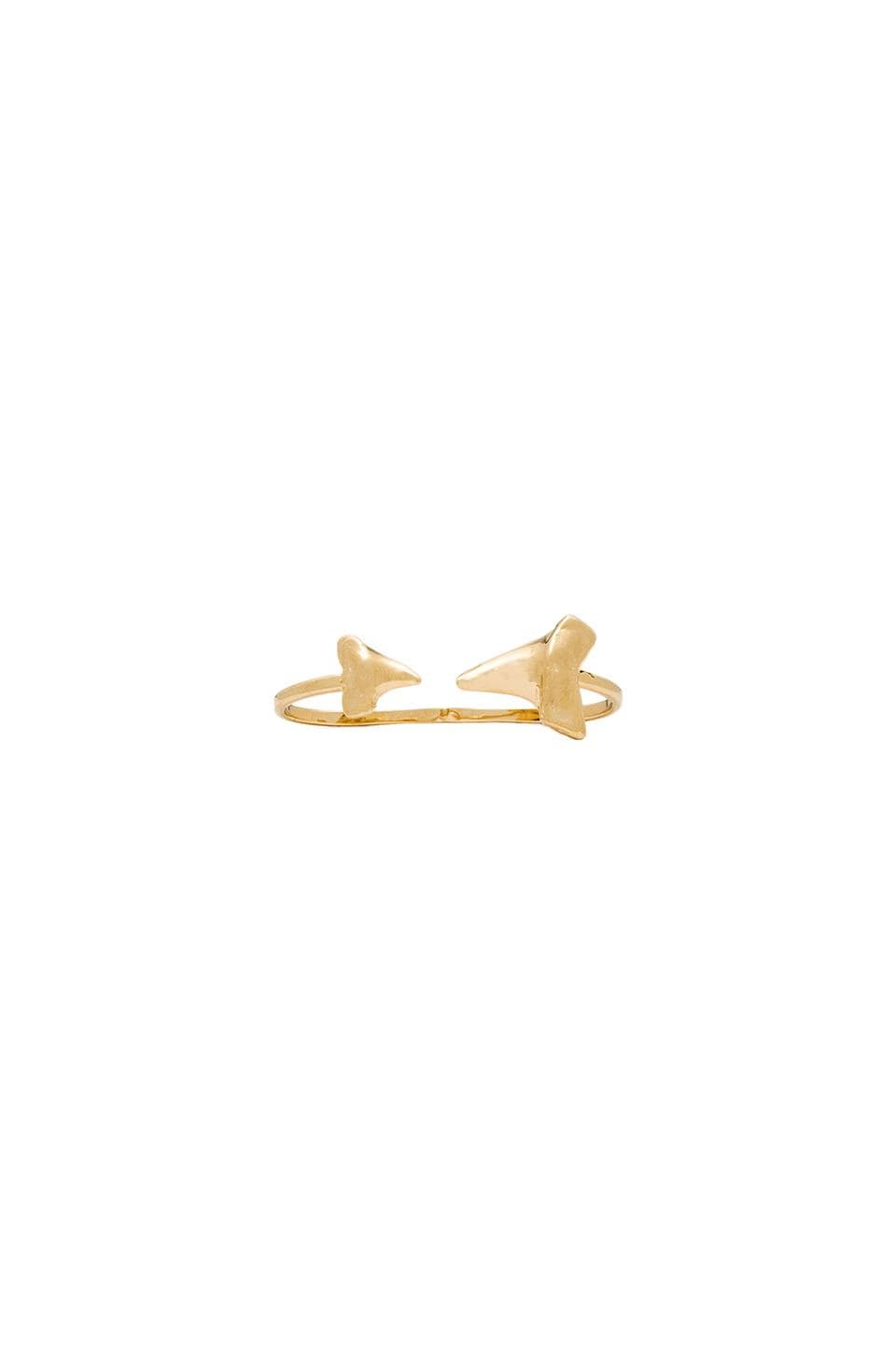 joolz by Martha Calvo Double Shark Tooth Ring in Gold
