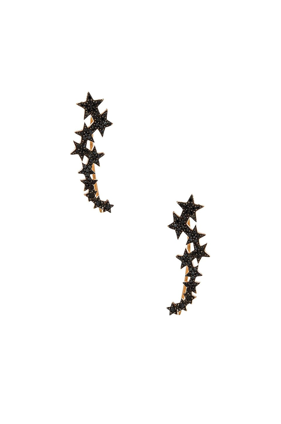 joolz by Martha Calvo Star Ear Crawler in Black & Rose Gold