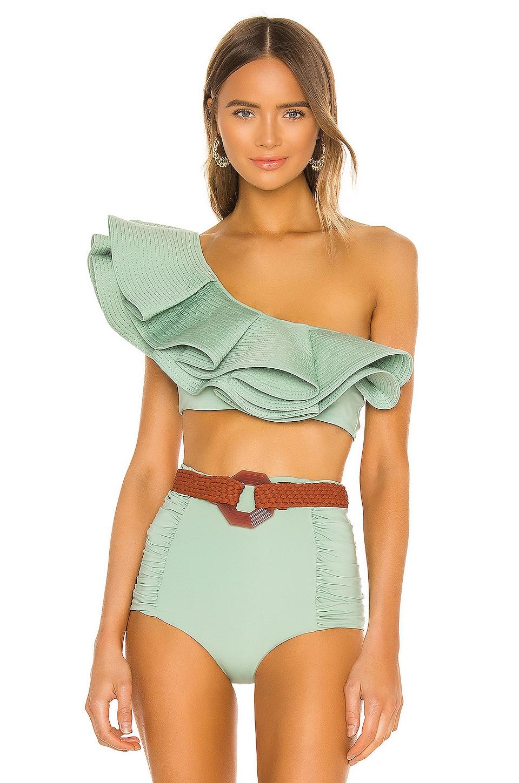 Johanna Ortiz Watercolor Bikini Top in Mint