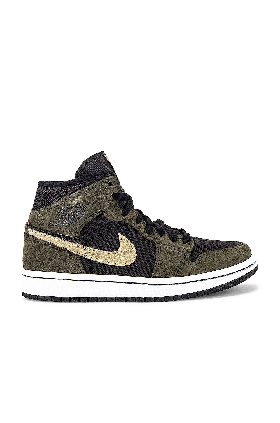 Jordan AJ 1 Mid Sneaker in Black & Trooper