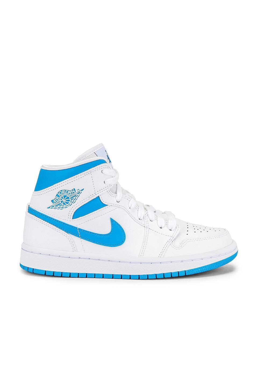 Jordan Air Jordan 1 Mid Sneaker in White, Dark Powder Blue & White