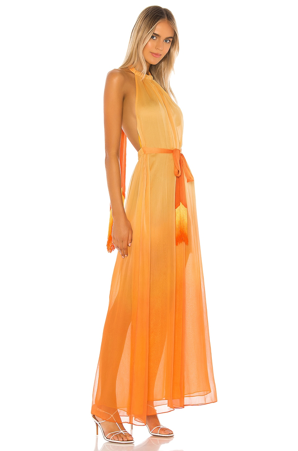 Ombre Halter Maxi Dress, view 3, click to view large image.