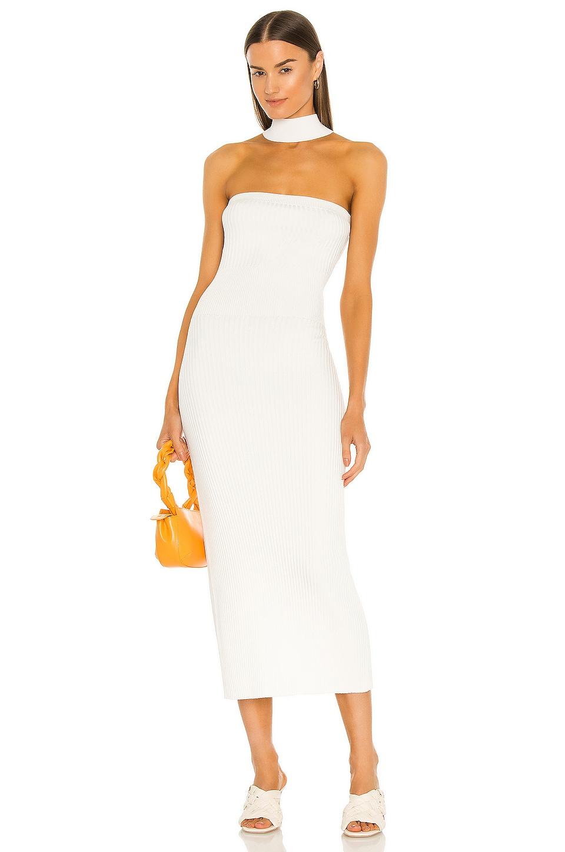 JONATHAN SIMKHAI Selena Compact Cut Out Dress in White