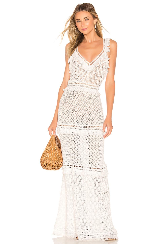 Lace Combo V Neck Maxi Dress