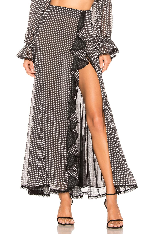 JONATHAN SIMKHAI Gingham Ruffle Slit Maxi Skirt in Black & White
