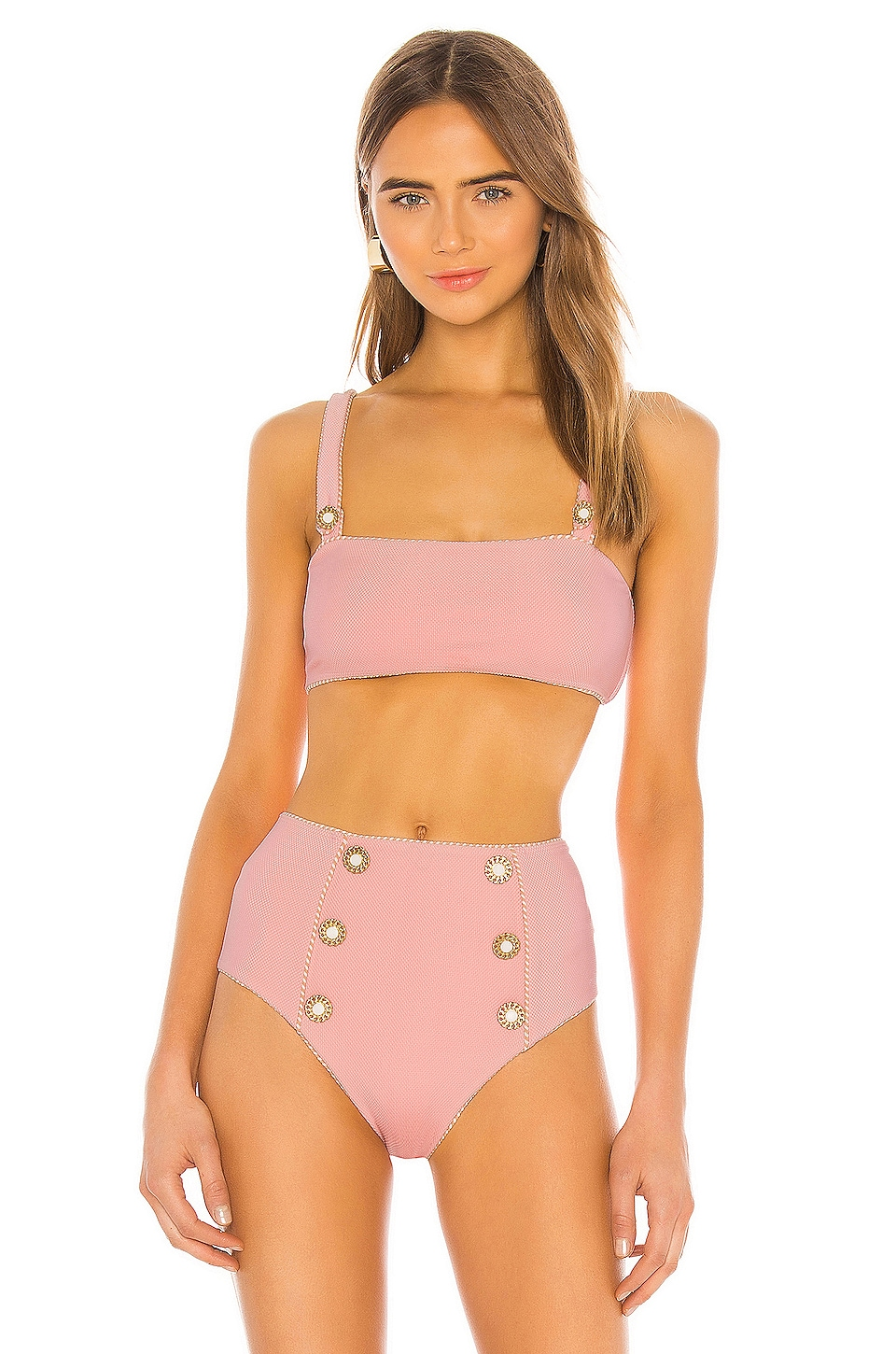 JONATHAN SIMKHAI TOP BIKINI PIPED LUXE