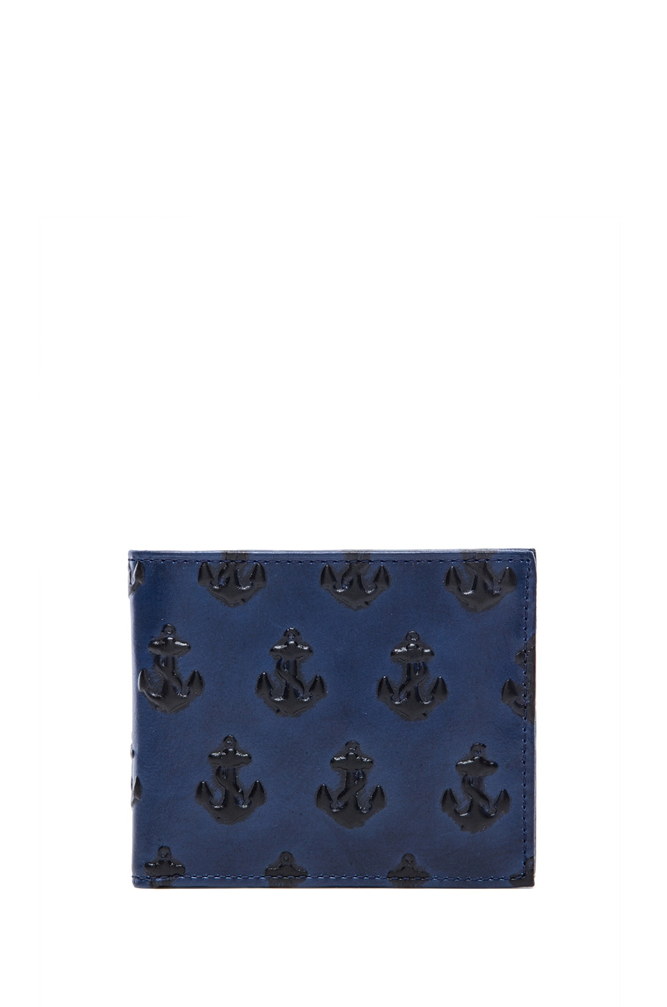 Jack Spade Embossed Anchor Bill Holder Wallet in Navy