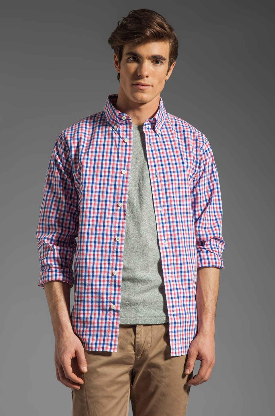 Jack Spade Bailey Gingham Shirt in Navy/Red