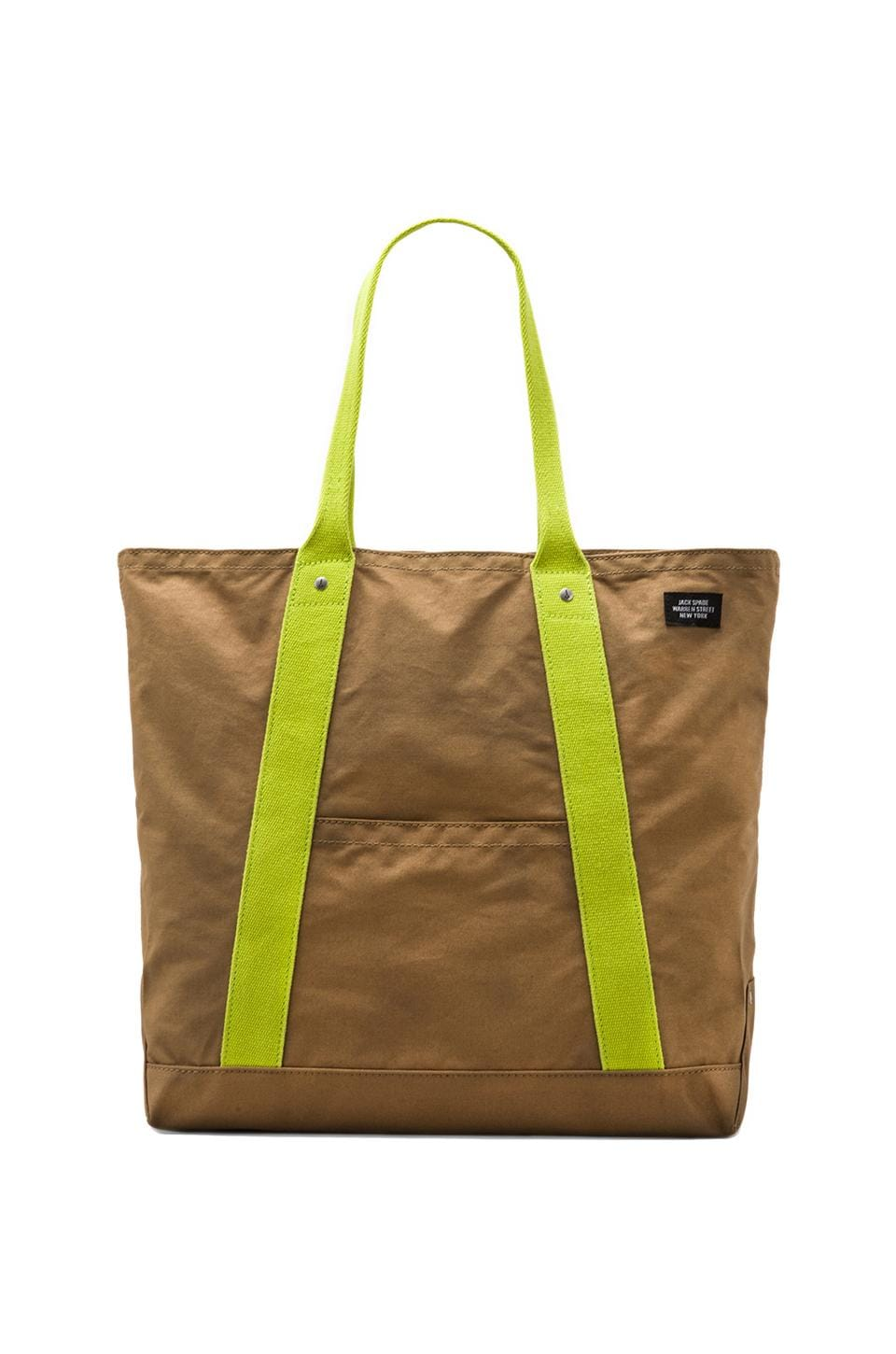 Jack Spade Basecamp Archaeology Reversible Tote in Tobacco/Leather