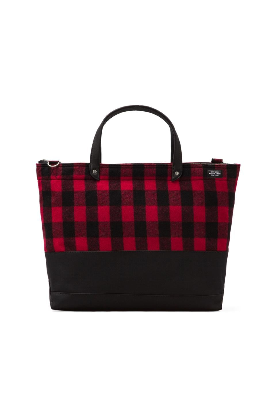 Jack Spade Buffalo Check Zip Coal Bag in Black/Red/Black
