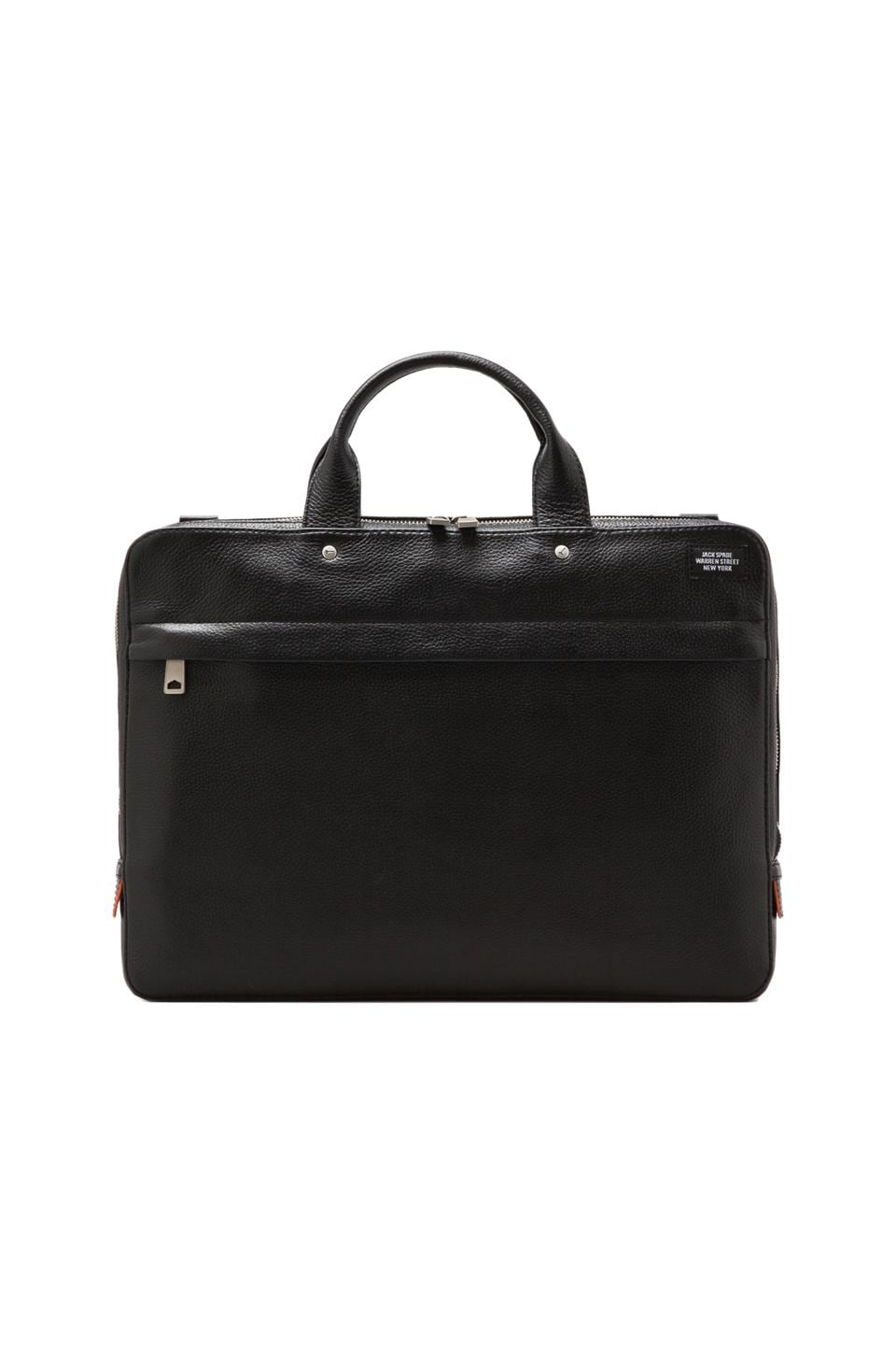 Jack Spade Mason Leather Slim Brief in Black/Black