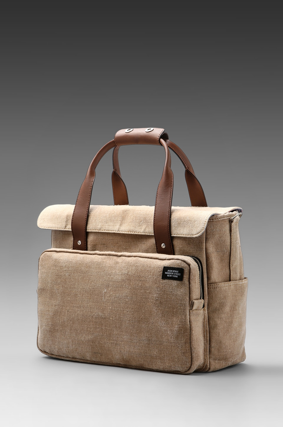 Jack Spade Stone Burlap Survey Bag in Natural/Blue & White