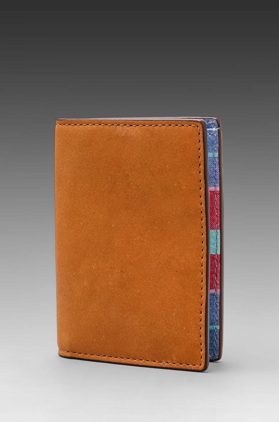 Jack Spade Madras Printed Leather Vertical Flap Wallet in Multi/Navy