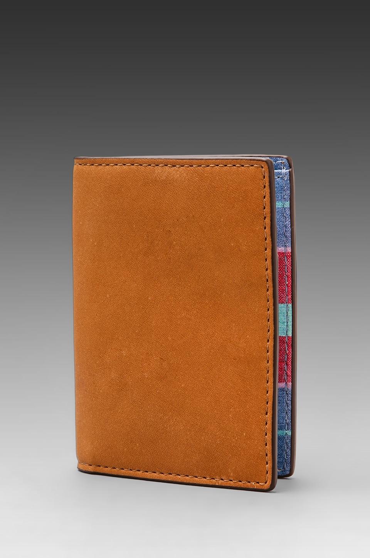 Jack Spade Madras Printed Leather Vertical Flap Wallet in Multi/Navy