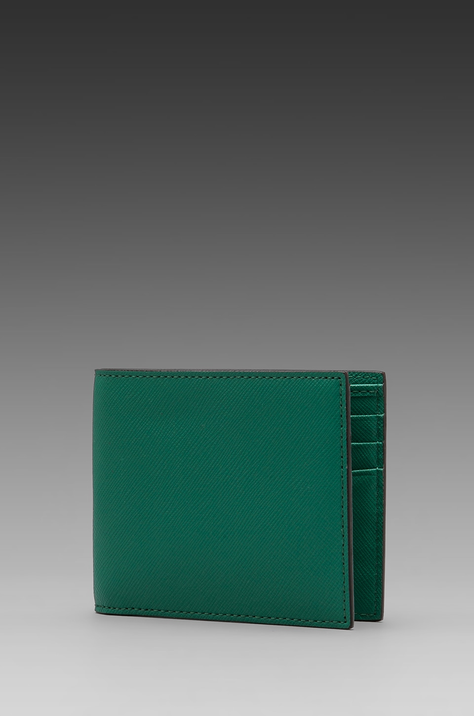 Jack Spade Wesson Leather Bill Holder Wallet in Fresh Green/Black & White