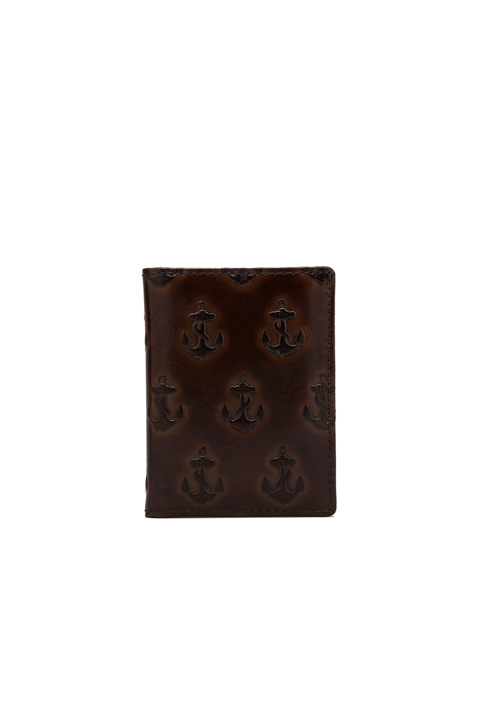 Jack Spade Embossed Anchor Vertical Card Holder/Yellow Multi in Chocolate