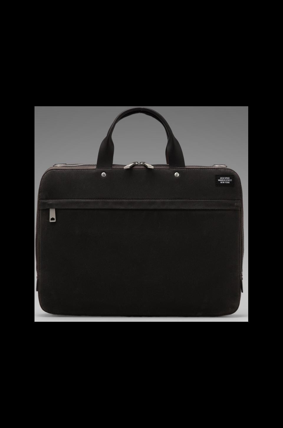Jack Spade Waxwear Slim Brief in Chocolate/Navy