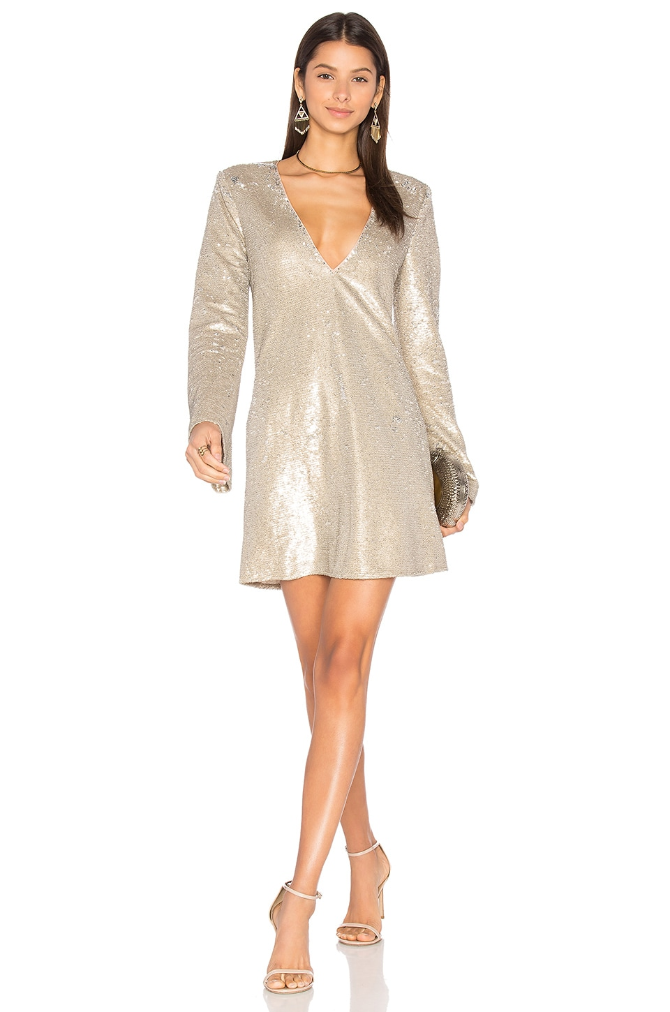 Gold Diamond Long Sleeve Dress by THE JETSET DIARIES