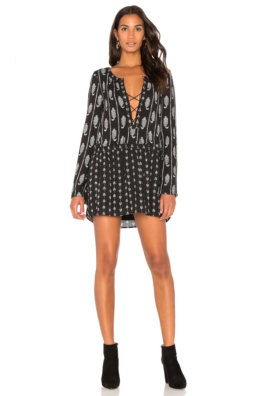 THE JETSET DIARIES Lace Up Mini Dress in Black Hayworth Print